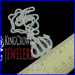 Genuine Diamond White Gold Tone Allah Arabic Pendant Charm + 24 Moon Cut Chain
