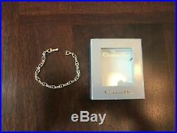 Gold Tone Christian Dior Logo Charm Link Bracelet