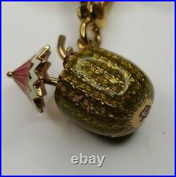 Gold Tone Juicy Couture Charm Bracelet fishbowl frog charms rare