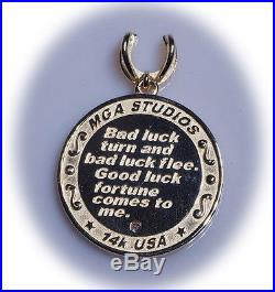 Gorgeous Good Luck Charm Pendant Talisman horseshoe evil eye elephant 14k gold