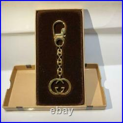 Gucci Authentic Interlocking G Vintage Gold-Tone Key Ring Holder Bag Charm withBox