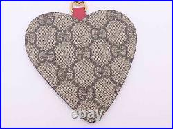 Gucci GG Embroidered Heart Key Ring Bag Charm Beige/Red PVC/Goldtone e47087a
