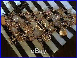 HENRI BENDEL Rose Gold Tone Charm Bracelet Pink Crystals with Tag