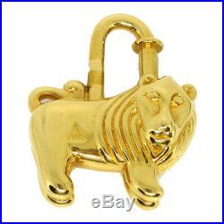 HERMES Africa 1997 H Logos Lion Motif Cadena Padlock Charm Gold-Tone S09120