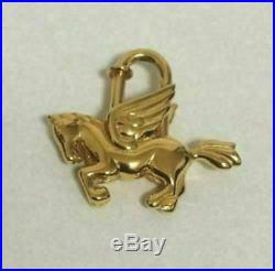 HERMES Authentic Cadena Lock Pegasus Motif Bag Charm Gold Tone Brass