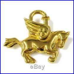 HERMES Pegasus Motif Cadena Lock Bag Charm Gold-tone Authentic F03167