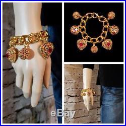 HUGE VTG 80s Escada Hearts Stars Charm Bracelet Earrings Multi Rhinestone Gold
