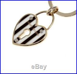 Henri Bendel HEART LOCK Key Fob Charm Centennial Stripe & Goldtone Rare NWT