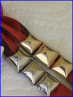 Hermes Bolduc Medor Permabrass/Gold Tone Charm Twilly Scarf BNWT
