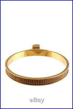 Hermes Womens Brown Gold Tone Kelly H Lock Cadena Charm Bangle Bracelet