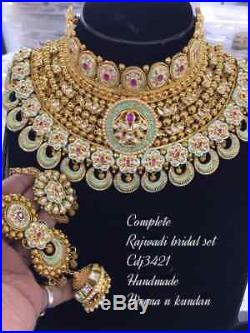 Indian Bollywood Gold Tone Kundan Choker Necklace Earring Party Bridal Jewelry