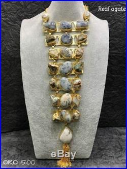 Indian Bridal Kundan Polki Long Necklace Earrings Set Gold Tone Women Jewelry