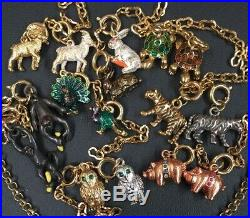 JOAN RIVERS Noah's Ark Gold Tone Necklace Extender 53 Charm Set With Ark Noah Wife