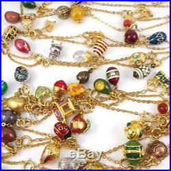 Joan Rivers Gold Tone Loaded With 100 Charms Faberge Eggs 18 Feet Long QYF9