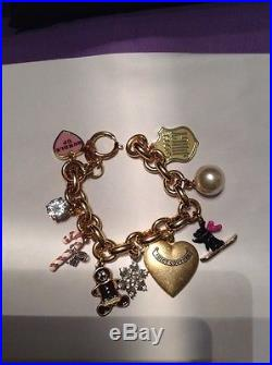 Juicy Couture Gold Tone Bracelet With 9 Charms Locket Candy Cane Snow Flake 2007