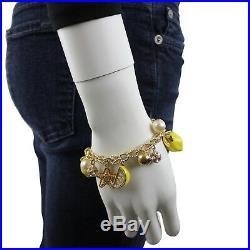 Kate Spade Womens Lemon Tart Gold Tone Chain Necklace and Charm Bracelet Set