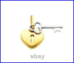 Key to My Heart 14K Solid Two Tone Gold Pendant Padlock Charm No Chain Necklace
