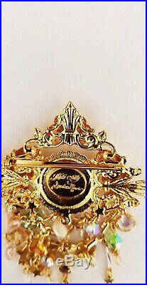 Kirk's Folly Vintage Seaview Moon Goldtone Brooch/Pin with Dangling Charms