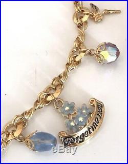 Kirks Folly Necklace Charm Gold Tone Forget Me Not, Love Birds, Hearts RARE KFB