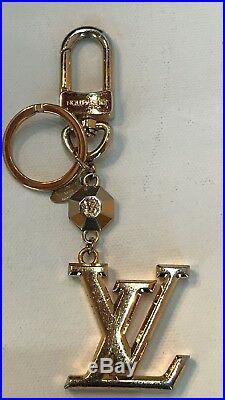 LOUIS VUITTON LV Facettes Bag Charm Key Holder Gold tone
