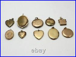 Lot of 10 Gold Tone & Gold Filled Locket Charms/Findings Craft Jewelry