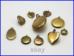 Lot of 8 Gold Tone & Gold Filled Locket Charms/Findings Craft Jewelry