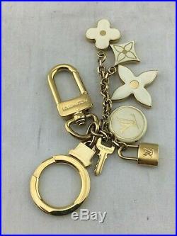 Louis Vuitton Gold Tone White Fleur De Monogram Bag Charm/ Key Chain