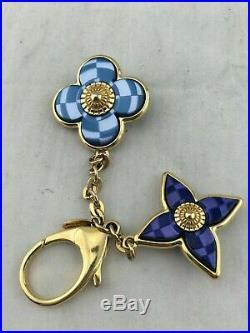 Louis Vuitton Monogram Gold Tone Blue Mosaic Bag Charm/ Key Chain