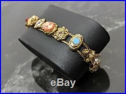 Lovely Vintage Gold-tone Charm Slide Bracelet, Slider Vintage Jewellery