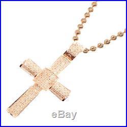 Men. 50ct Genuine Real Diamond Rose Gold Tone Cross Charm Pendant Necklace Chain