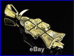 Men's 10K Yellow Gold Genuine Diamond 3D Grim Reaper Pendant Charm 0.75ct 2.1