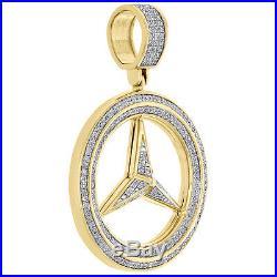 Men's 10K Yellow Gold Mercedes Medallion Real Diamond Pendant Pave Charm 0.46 CT