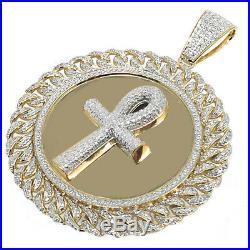Men's. 50ct Round Genuine Real Diamond Yellow Gold Tone Ankh Medallion Charm New
