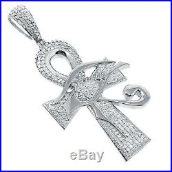Men's Ladies New White Gold Tone Real Genuine. 33ct Natural Diamond Ankh Charm