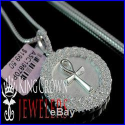 Men's Ladies New White Gold Tone Sterling Silver Ankh Medallion Charm Necklace