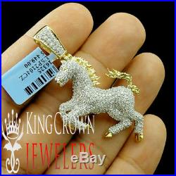 Men's New 14k Yellow Gold Tone 925 Sterling Silver Lucky Horse Charm Pendant