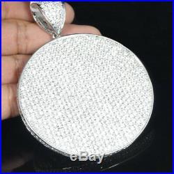 Men's New White Gold Tone Custom 3D Full Iced Out Pendant Medallion Charm 3.5