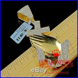 Mens Genuine Natural. 33ct Diamond Cross With Praying Hand Charm Pendant Gold Tone