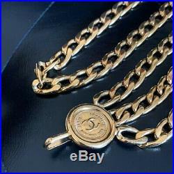 Mfa952 Chanel CC COCO mark Medal Charm Gold tone Triple Chain Belt length 85cm