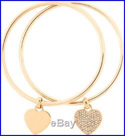 Michael Kors 2 Pc Set Rose Gold Tone, Crystal Heart Charm Bangle Bracelet Mkj3002