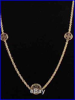 Michael Kors Goldtone Stainless HERITAGE MONOGRAM Disc Station Necklace MKJ4479