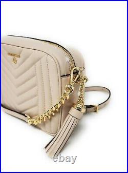 Michael Kors Jet Set Charm Leather Medium Camera Bag, Soft Pink Gold Tone, NEW