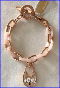 Michael Kors Rose Gold-Tone & Blush padlock Necklace & bracelet Set NWT $390