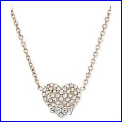 Michael Kors Rose Gold Tone Chain+heart Crystal Pave Pendant Necklace Mkj3039