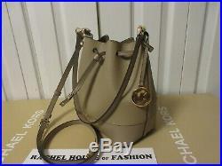 Michael Kors Trista MD Bucket Bag Messenger Leather 35S0SY9B7J Truffle NWT