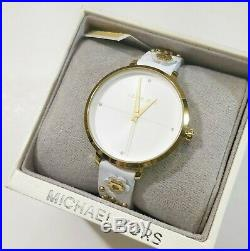 Michael Kors Women's MK2821 Charley Gold Tone White Leather Floral Charm Watch