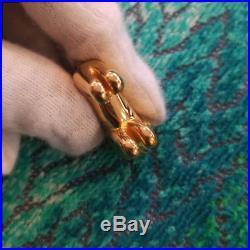 Mint HERMES Authentic Cadena Lock Lion Motif Bag Charm Gold Tone Brass F/S