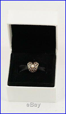 NEW Authentic PANDORA 14K Gold Vintage Heart With White Pearl Charm 750822P