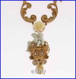 NEW DOLCE & GABBANA Necklace Gold Baroque Crystal ANGEL Sicily Roses Charms