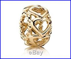 NEW Pandora Lucky in Love Spacer Charm 14k Gold Hearts Openwork 750813 Retired